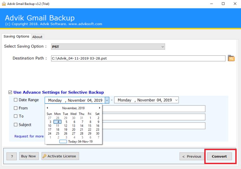 Gmailをpstにエクスポート