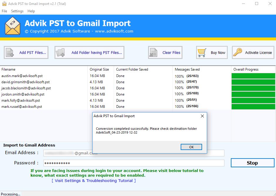PSTをGmailにインポート