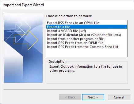OutlookのメールをエクスポートしてCSVに